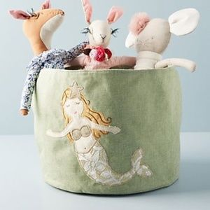 Anthropologie Embroidered Mermaid Toy Bin